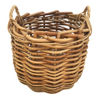 Vintage Wicker Storage Basket For Sale
