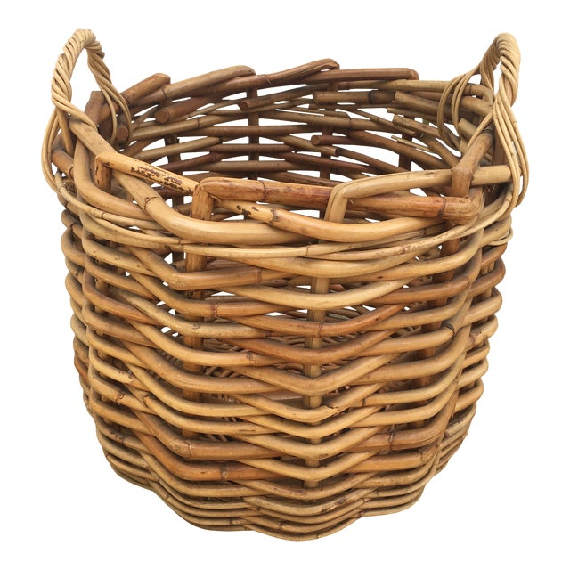 Vintage Wicker Storage Basket For Sale