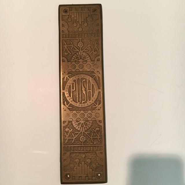 Art Nouveau Vintage Door Push Plate For Sale - Image 3 of 8