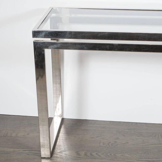 1970s Mid-Century Modernist Chrome and Glass Console or Sofa Table by Milo Baughman For Sale - Image 5 of 7