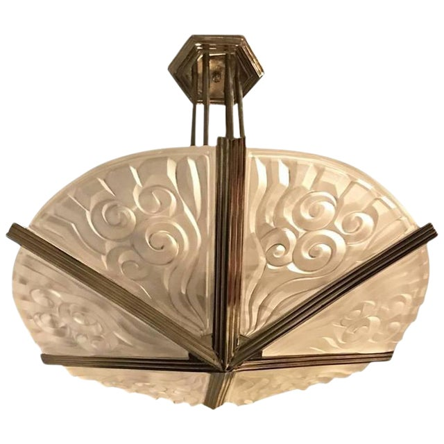 Degue French Art Deco Geometric Chandelier - Image 1 of 7