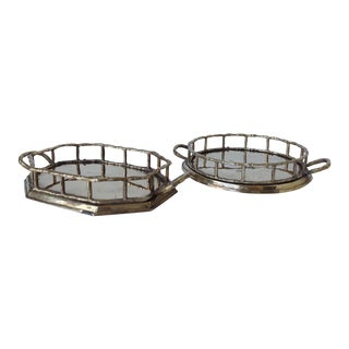Brass Bamboo Style Accent Trays - a Pair For Sale