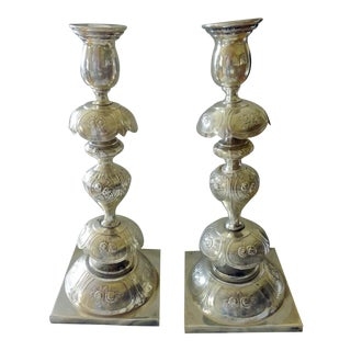 Late 19th Century Antique Rose of Warsaw Silver Candleholders - A Pair For Sale