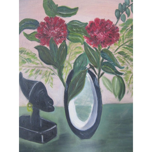 Mid-Century Still Life Painting With Flowers - Image 4 of 8