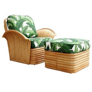 Rattan Fan Arm Lounge Chair Ottoman Set For Sale