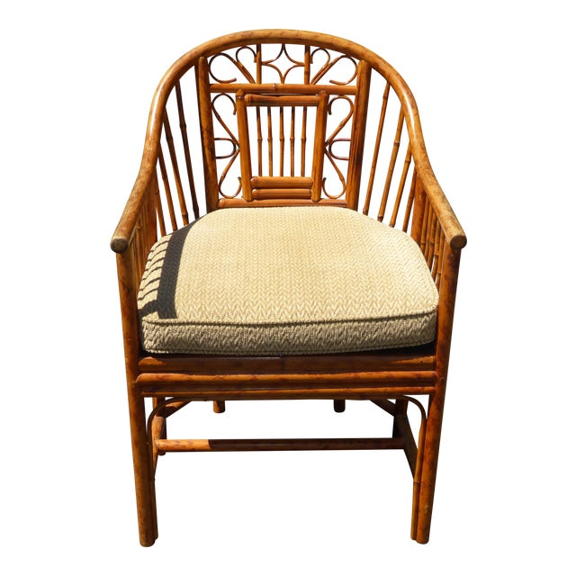 Vintage Chinoiserie Brighton Pavillion Style Rattan Bamboo & Cane Arm Chair For Sale