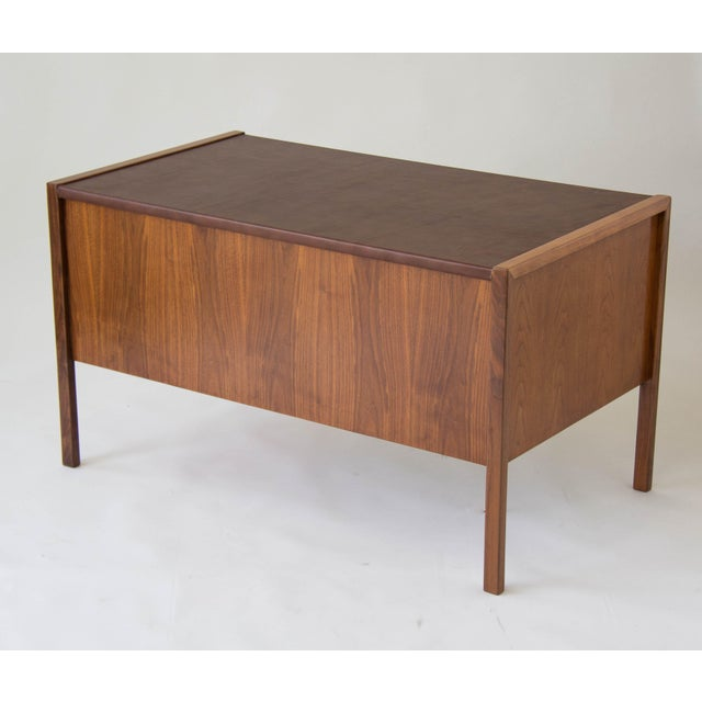 Brown Jens Risom Walnut Desk with Leather Writing Surface For Sale - Image 8 of 11