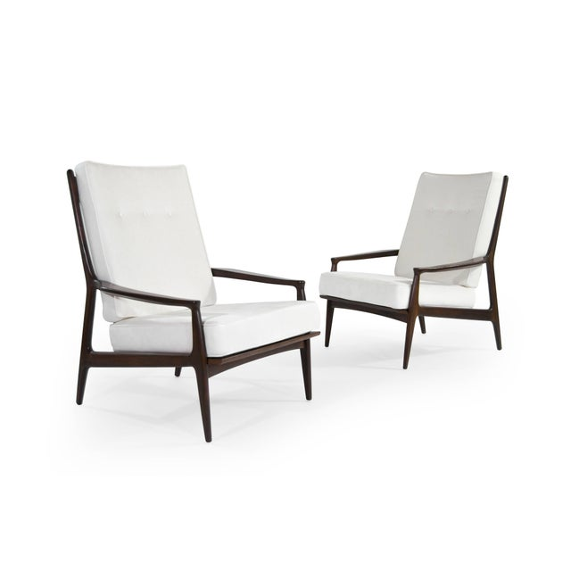 Mid 20th Century Milo Baughman for Thayer Coggin Walnut Archie Lounge Chairs For Sale - Image 5 of 11