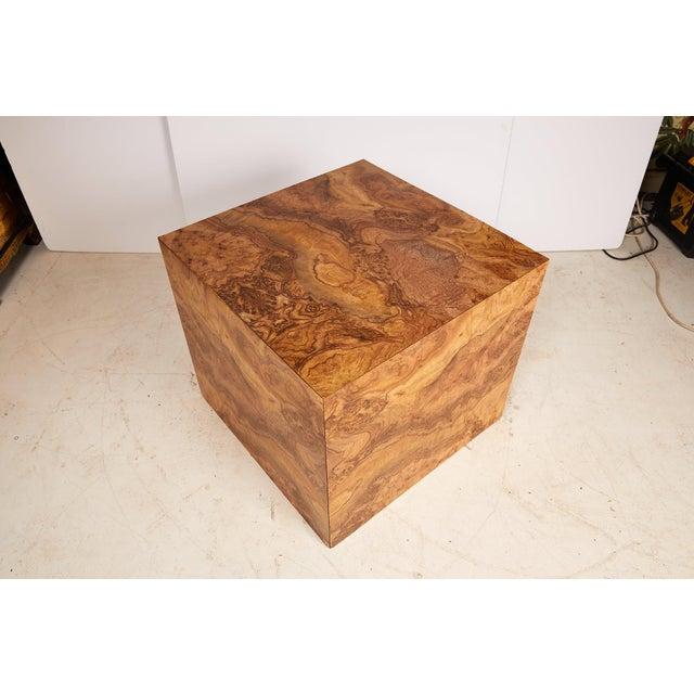 Wood Midcentury Burled Wood Laminate Cube For Sale - Image 7 of 13