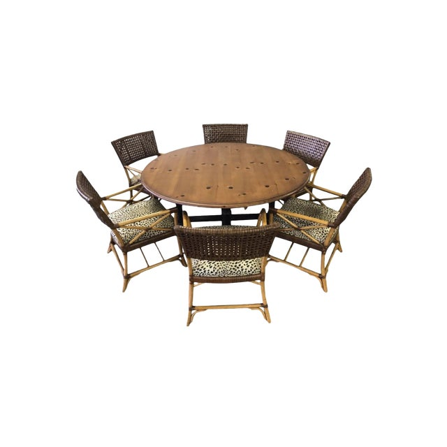 Hickory White Woven Leather and Bamboo Dining Chairs With Round Wood Table Set For Sale