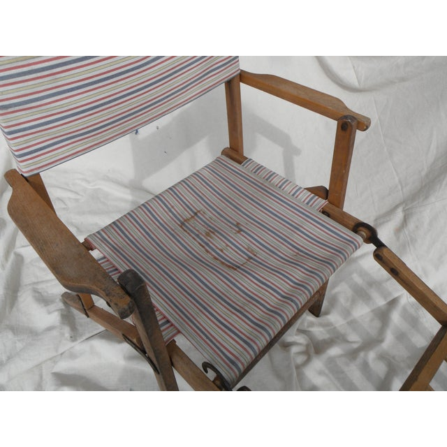 Antique Canvas Steamer Chair & Footrest For Sale - Image 4 of 8