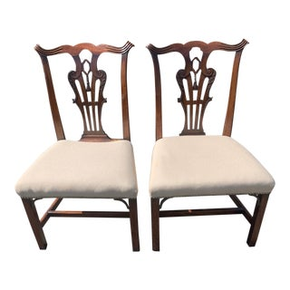19th Century Irish Georgian Side Chairs With Center Carved Tassels -A Pair For Sale