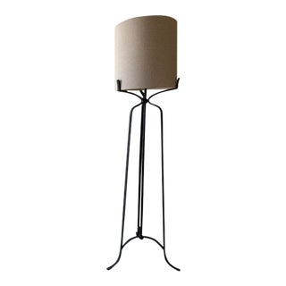 Gabby Home Elena Floor Lamp in Antique Bronze Finish With Natural Linen Shade For Sale