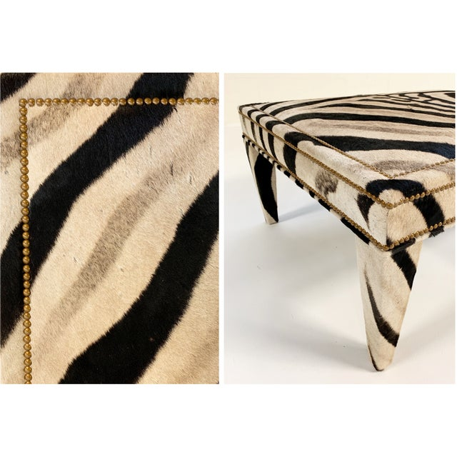 Forsyth Zebra Hide Parsons Style Ottoman For Sale - Image 10 of 11