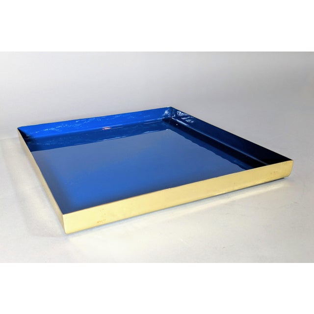 Brass and Enamel Blue, Teal & White Trays - Set of 3 For Sale - Image 12 of 13