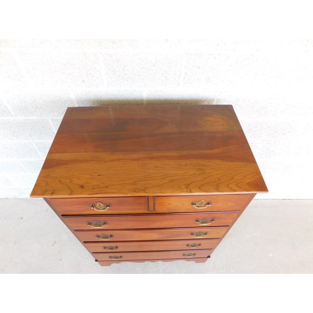 Stickley Chippendale Style Solid Cherry 6 Drawer Tall Chest For Sale - Image 9 of 12