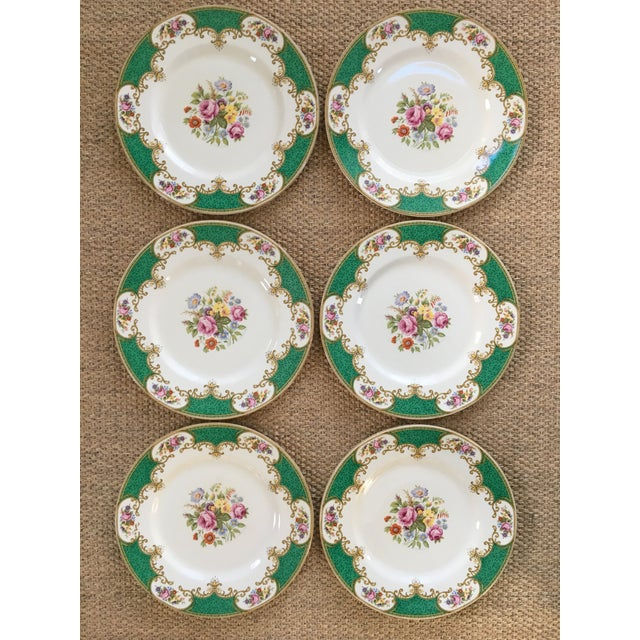 Made in England-Early 20th Century Antique Myott Royal Crown Staffordshire China Plates - Set of 6 For Sale - Image 12 of 13