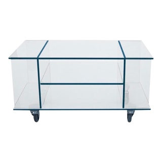 Glass Rolling Side Table For Sale