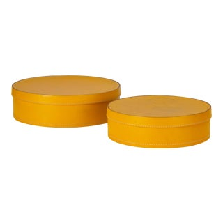 Round Leather Nesting Boxes by Arte Cuoio & Triangolo For Sale