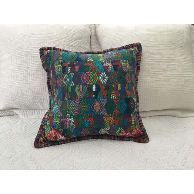 Original Guatemalan Textile Cushion Case in Teal For Sale - Image 10 of 10