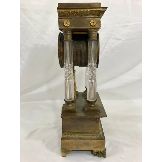 Early 19th Century Baccarat and Bronze French Empire Mantle Clock For Sale - Image 5 of 7