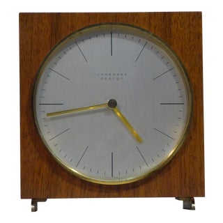 1960s Mid-Century Modern Max Bill for Junghans Design Teak Table Clock For Sale