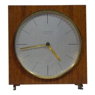 1960s Mid-Century Modern Max Bill for Junghans Design Teak Table Clock