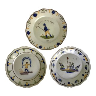 Antique French Nationalism Hand-Painted Pottery Plates - Set of 3 For Sale