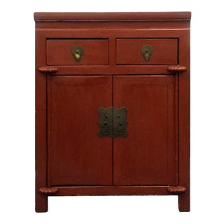 1920s Chinese Burnt-Red Lacquered Nightstand For Sale