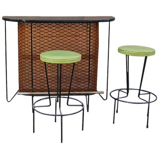 Mid-Century Modern Frederick Weinberg Bar and Stools Set- 3 Pieces For Sale