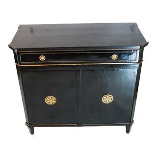 French Regency Black Cabinet With Brass Details For Sale