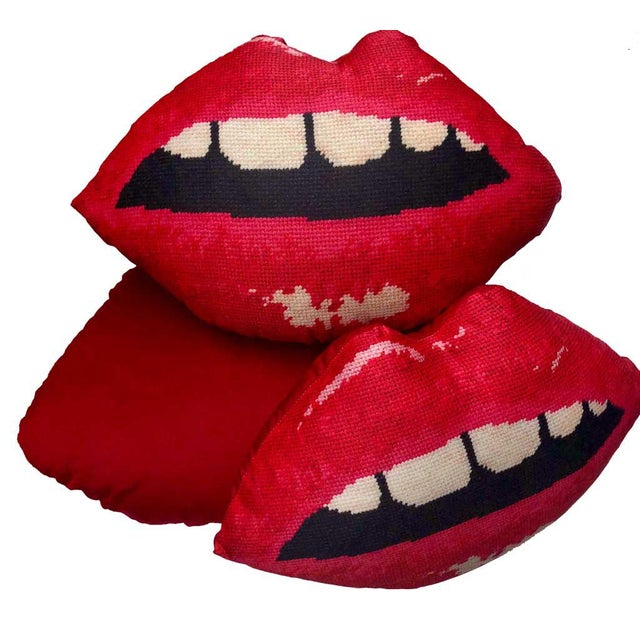 "Custom Made Modern Lips Pillow, Original ""Embrasse Moi"" Design For Sale - Image 4 of 11"