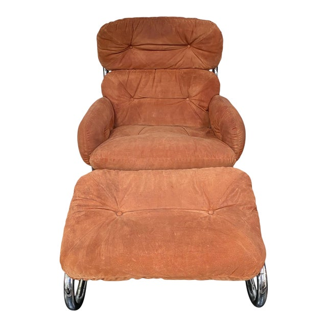 Vintage Milo Baughman Pumpkin Suede Chair & Ottoman For Sale