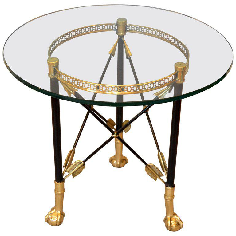 Round Bronze Glass Coffee Table Ball And Claw Feet For Sale   Image 13 Of 13