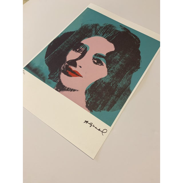 """Turquoise Andy Warhol Limited Edition """"Liz, 1964"""" Stone Signed, Numbered, and Authenticated Lithograph For Sale In West Palm - Image 6 of 12"""