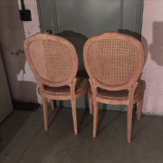 Faux Bois Dining Chairs - Pair For Sale - Image 9 of 10