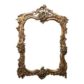 Antique Italian Baroque Gilded Wood Mirror For Sale