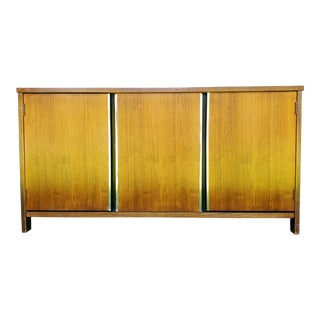 1970s Midcentury Modern Walnut and Chrome Credenza For Sale