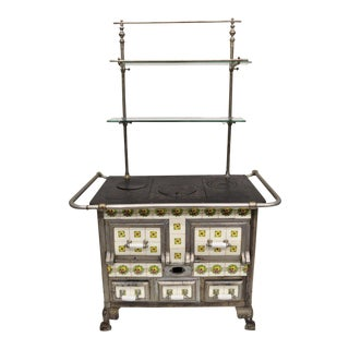 Early 20th Century Vintage European Art Nouveau Cast Iron Tile Wood Coal Burning Stove For Sale