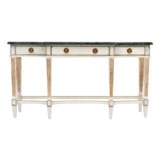 Directoire Style Console Table With Pietra Verde Marble Top For Sale