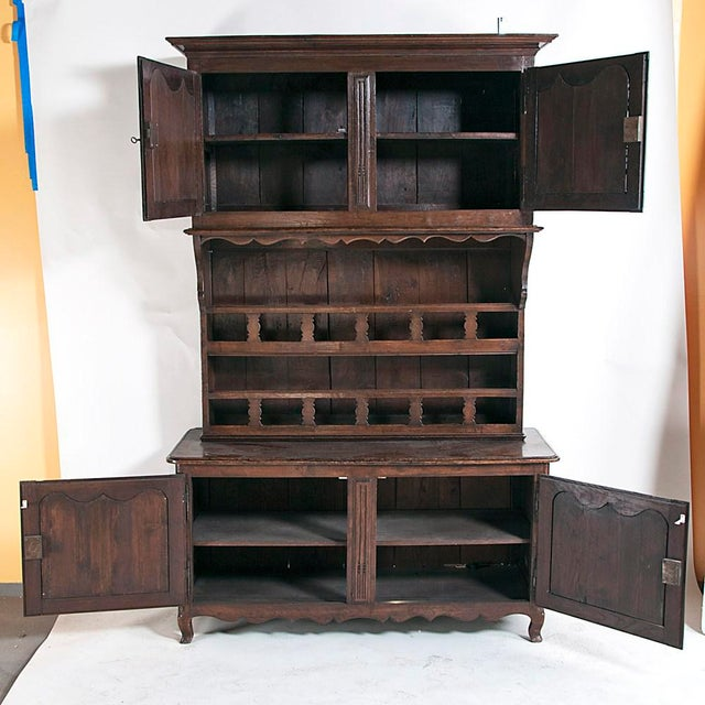 Late 19th Century Large French Three Part Oak Cabinet For Sale - Image 4 of 8