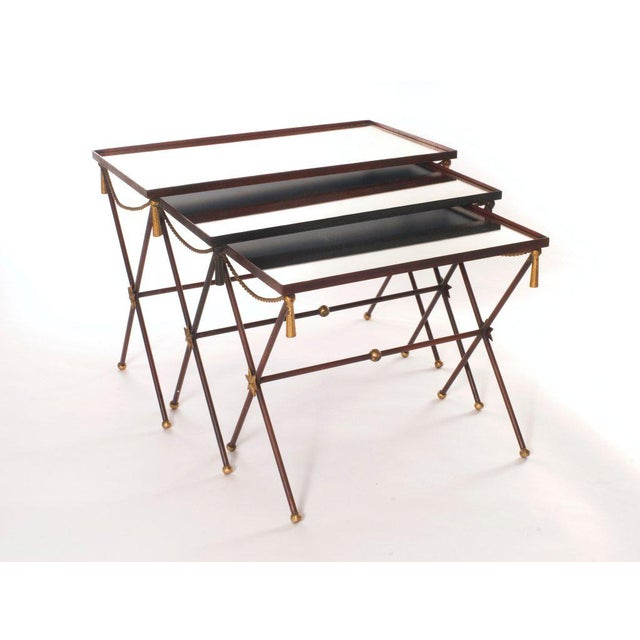 French Painted Mirrored Nesting Tables - Set of 3 - Image 2 of 6
