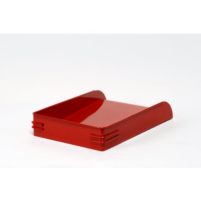 Cole Steel 1930s Steel Letter Tray Refinished in Gloss Red, 2 Available For Sale - Image 4 of 7