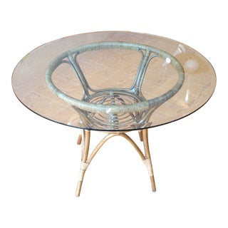 "40"" Round Rattan Dining Table With Glass Top For Sale"
