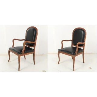 Vintage Mid Century Hand-Carved Italian Carved Wood Leather Bound Armchairs- A Pair Preview