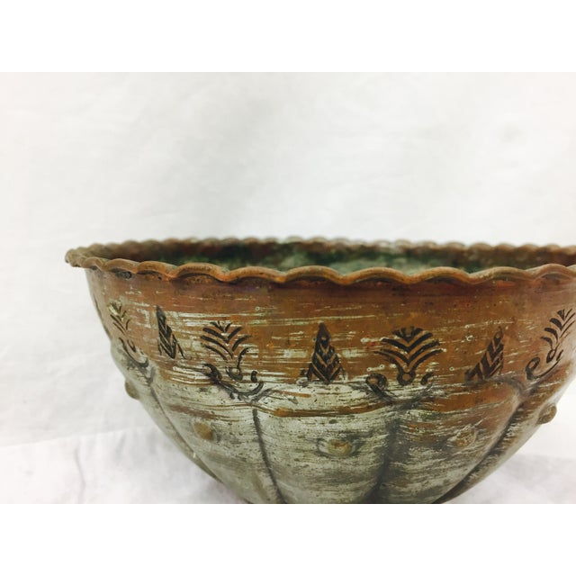 Stunning Antique Etched Copper serving dish / Bowl. Beautiful Patina as pictured here. Excellent craftsmanship and heavily...