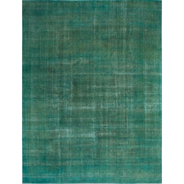 """Green Vintage Persian Overdyed Rug - 9'4"""" X 12'9"""" - Image 1 of 2"""