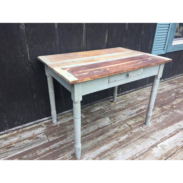 Boho Chic Distressed Farm Table For Sale - Image 3 of 9