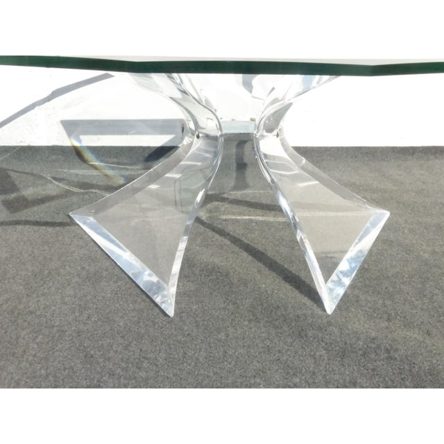 Designer Signed Lion in Frost Triple Butterfly Lucite and Glass Coffee Table For Sale In Los Angeles - Image 6 of 13