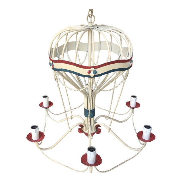 1950s Italian Tole Hot Air Balloon Chandelier For Sale